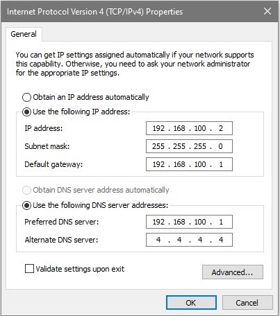 windows static ip settings